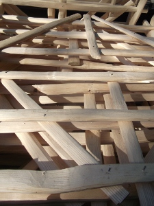 Cleft ash gate hurdles stacked for delivery
